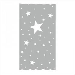 Rideau OSCAR  étoiles blanches fond gris