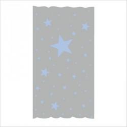 Rideau OSCAR  étoiles bleu ciel fond gris