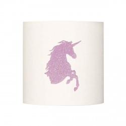 Applique lumineuse tête licorne pailletée rose pale personnalisable