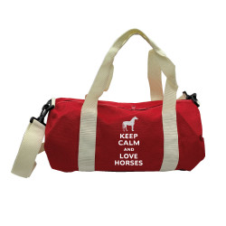 Sac de sport rouge keep calm love horses argent personnalisable