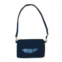 Sac bandoulière effet velours bleu marine plume bleue pailletée