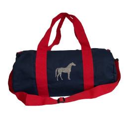 Sac de sport marine et rouge cheval argent personnalisable