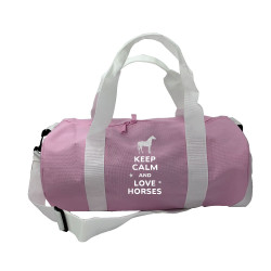 Sac de sport rose  keep calm love horses personnalisable