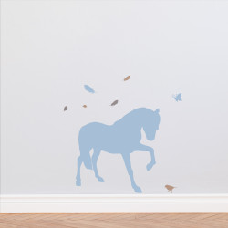 Sticker cheval plume