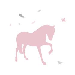 Sticker cheval plume harmonie rose