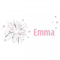 Sticker prénom feu d'artifice rose et gris Emma