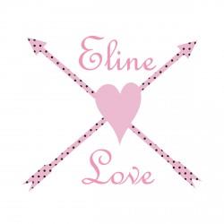 Sticker flèches et coeur rose et noir personalisable