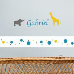Sticker prénom animaux Gabriel