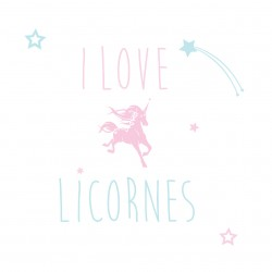 Sticker I love licorne personnalisable