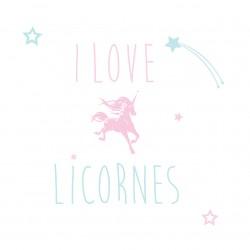 Sticker I love licorne personnalisable