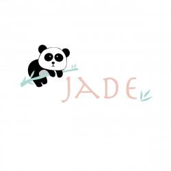 Sticker prénom panda Jade menthe