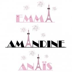 Sticker prénom parisienne et ses feux d'artifices