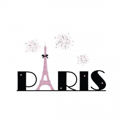 Tableau Tour Eiffel rose et noir fond blanc