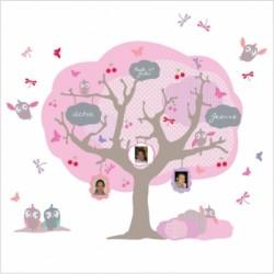 Sticker arbre généalogique rose