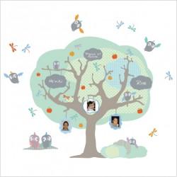 Sticker Eco arbre généalogique bleu