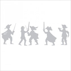 Sticker frise aventuriers gris
