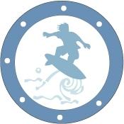 Sticker hublot Surfeur