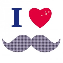 Sticker I love moustache british rouge et bleue