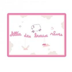 Sticker Plaque de porte - Allée des beaux rêves rose