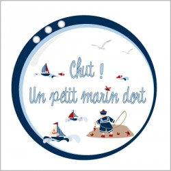 Sticker Plaque de porte - Chut un petit mousaillon dort