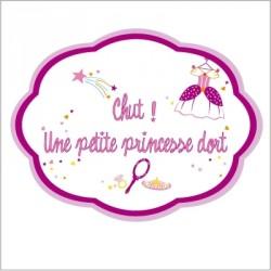 Sticker Plaque de porte - Chut une petite princesse dort