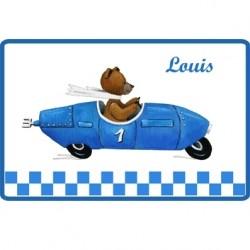 Sticker Plaque de porte  ours en voiture bleue personnalisable
