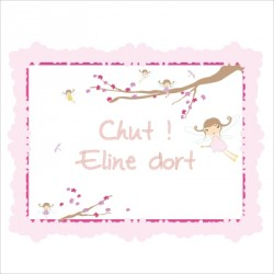 Sticker Plaque de porte personnalisable fée
