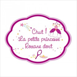 Sticker Plaque de porte personnalisable princesse