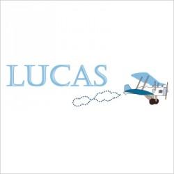Sticker prénom avion Lucas