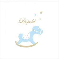 Sticker prénom cheval de bois bleu
