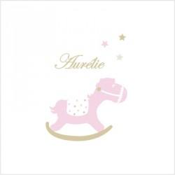 Sticker prénom cheval de bois rose