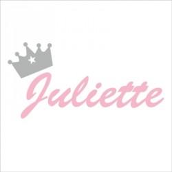 Sticker prénom couronne Juliette rose