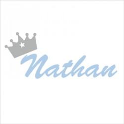 Sticker prénom couronne Nathan bleu