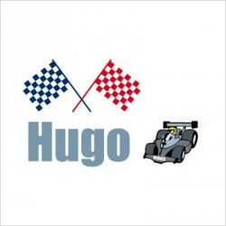 Sticker prénom F1 Hugo