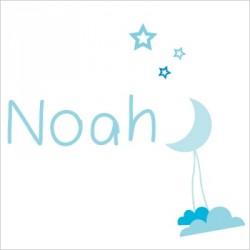 Sticker Prénom Lune Noa