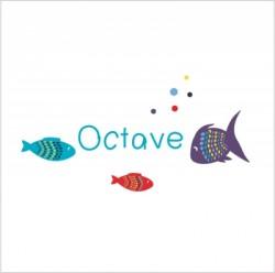 Sticker prénom poissons Octave