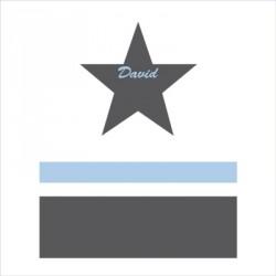 Sticker tête de lit étoile et rayure bleu prénom