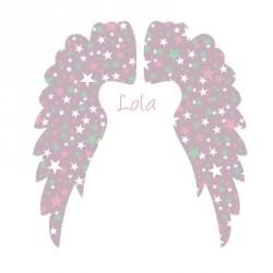 Sticker Tête de lit Ailes d'anges mauve personnalisable