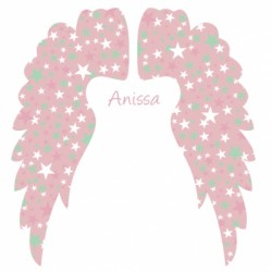 Sticker Tête de lit Ailes d'anges rose personnalisable