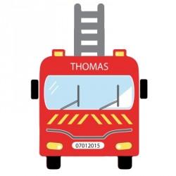 Sticker tête de lit camion de pompier personnalisable
