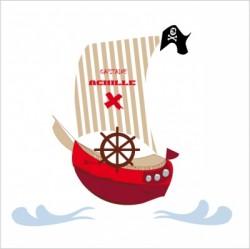 Sticker tête de lit le Bateau de pirate rouge personnalisable