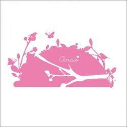 Sticker tête de lit oiseaux rose fushia