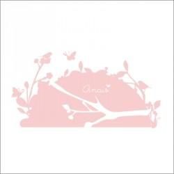 Sticker tête de lit oiseaux rose tendresse