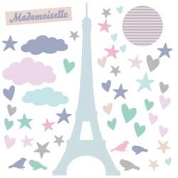 Sticker tour Eiffel coeurs et oiseaux