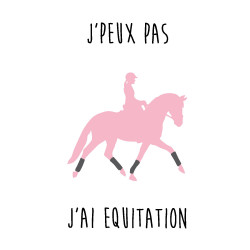Sticker cheval j'peux pas j'ai equitation rose