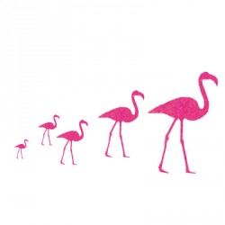 Stickers flamants rose pailletés
