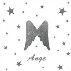 Stickers aile d'ange et etoiles argent pailleté personnalisable