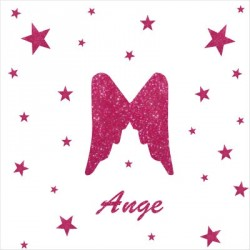 Stickers aile d'ange et etoiles rose pailleté personnalisable