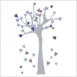 Stickers Arbre à coeurs bleu