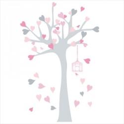 Stickers Arbre à coeurs rose et gris
